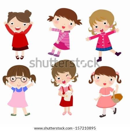 group of girls - stock vector