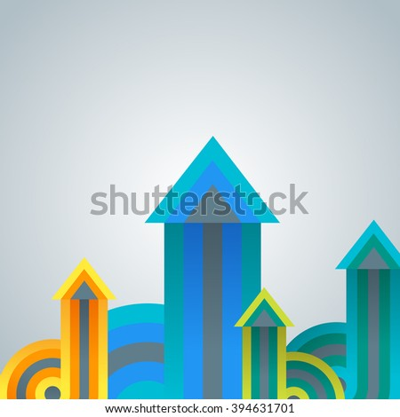 Group of growing colorful arrow charts on white background. Abstract infographics template with arrows. Template for workflow layout, diagram,business step options, banner, web design.