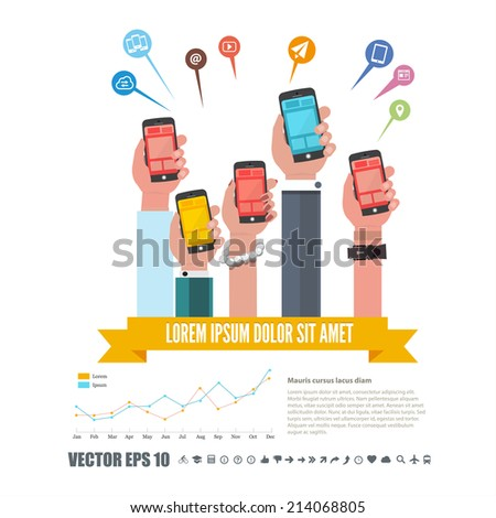 group of hands holding smartphone or phone with infographic and network icon. technology concept - vector illustration - stock vector