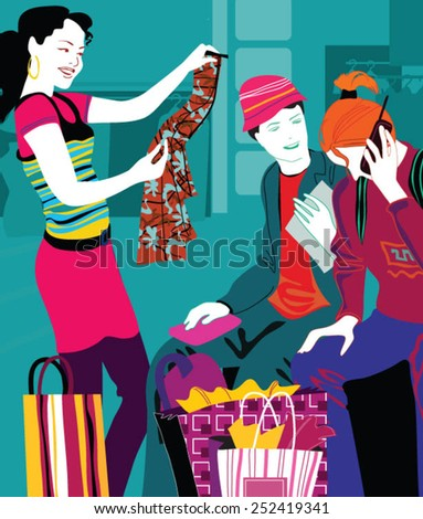 Group of happy best friends with shopping bags in the city center - stock vector