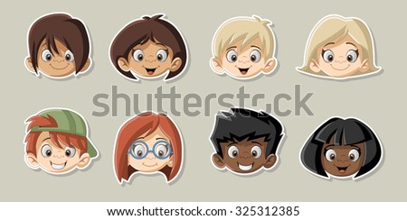 Group of happy cartoon children. Cute kids. - stock vector