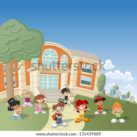 Group of happy cartoon children in front of school - stock vector