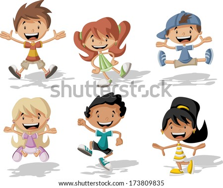 Group of happy cartoon children jumping  - stock vector
