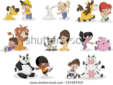 Group of happy cartoon children playing with animals pet - stock vector