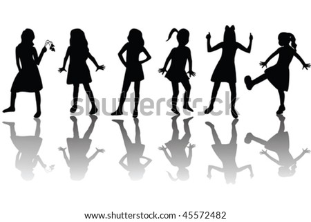 Group of happy children silhouettes - stock vector