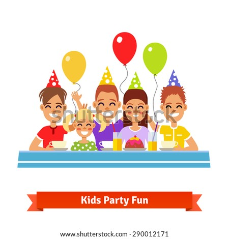 Group of happy smiling adorable kids having fun at birthday tea party. Flat style vector illustration. - stock vector