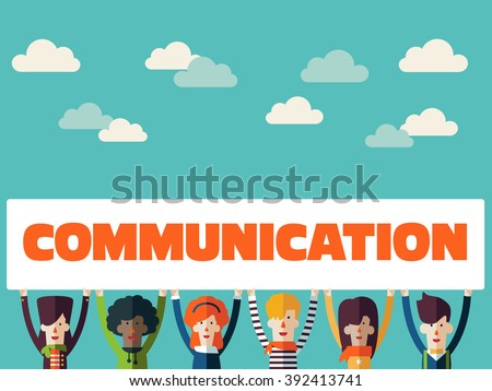 Group of happy smiling young people with a white placard. Male and female faces avatars in modern design style. Communication, teamwork, assistance, interpretation and connection vector concept - stock vector