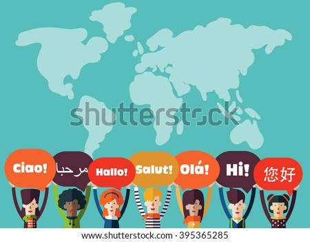 Group of happy smiling young people with speech bubbles in different languages. Male and female faces avatars in modern design style. Communication, teamwork, assistance and connection vector concept - stock vector