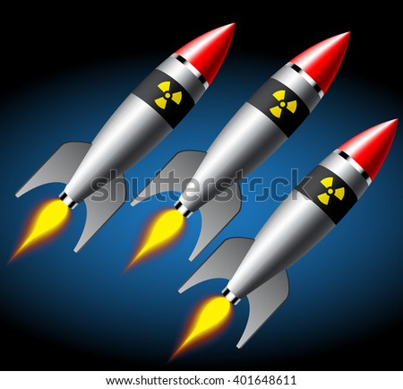 Group of heavy nuclear missiles isolated on white
