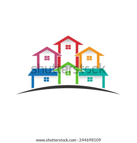 Group of houses - stock vector