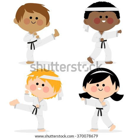 Group of karate kids wearing martial arts uniforms. - stock vector