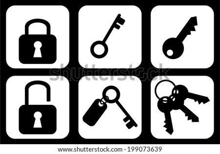 Group of keys and padlocks web internet icons, signs, symbols, black and white design. vector art image illustration, isolated on white background, eps10  - stock vector