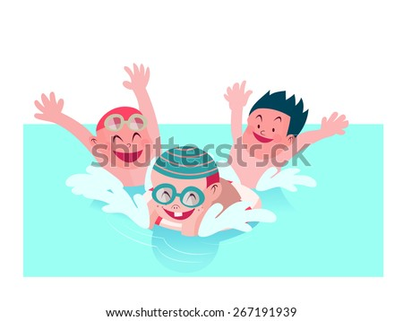 group of kids enjoy playing together in swimming pool vector illustration