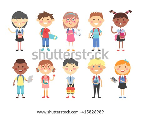 Group of kids going to school together. School kids happy character vector. School kids little cute primary school people. School kids positive youngster smiling children, contemporary learner kids. - stock vector