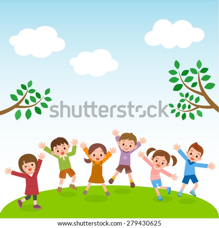 Group of kids jumping on grass hill with blue sky - stock vector