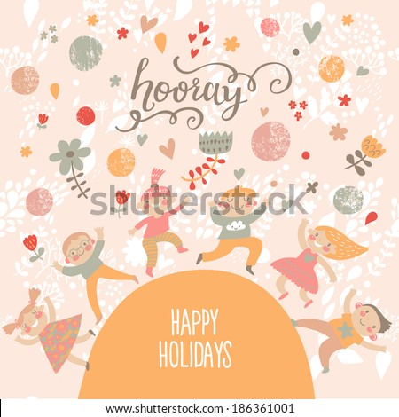 Group of kids playing. Six funny kids in cartoon style. Bright childish holiday card in vector. Cute kids jumping and having fun. Happy birthday background - stock vector