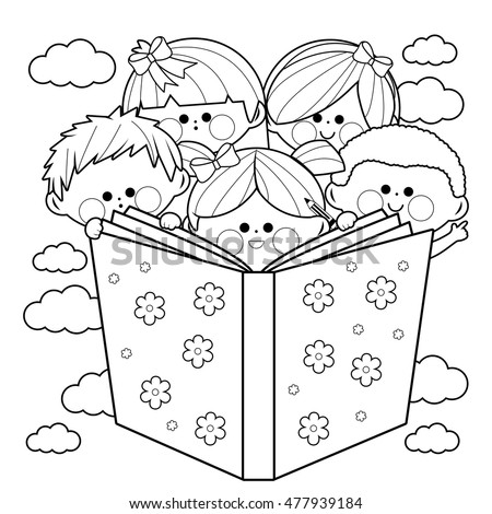 Group Kids Reading Book Coloring Book Stock Vector 477939184 ...