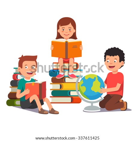 Group of kids studying and learning together. Boys and girl reading books and doing homework. Flat style vector illustration isolated on white background. - stock vector