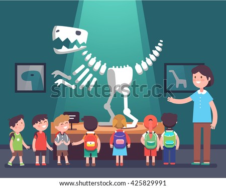 Group of kids watching tyrannosaurus dinosaur skeleton at archeology museum excursion with a teacher. School or kindergarten students on filed trip. Modern flat style vector illustration cartoon. - stock vector