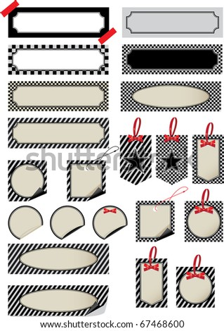 Group of labels of different forms with striped drawing. Vector - stock vector