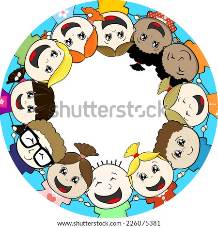 group of little children together framing circle copy space - stock vector