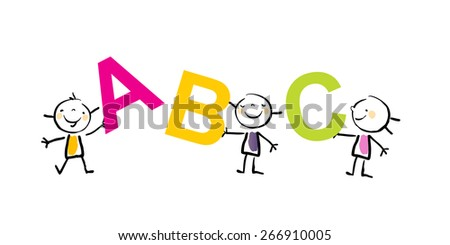 Group of little kids holding abc letters. Education, learning concept,  vector illustration, doodle sketchy style.  - stock vector