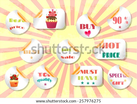 Group of luxury, isolated, labels on striped background - stock vector