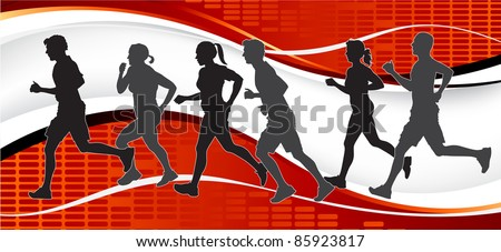 Group of Marathon Runners on abstract background. - stock vector