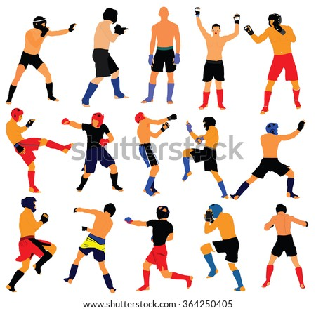 Group of mma fighters vector isolated on white background. - stock vector