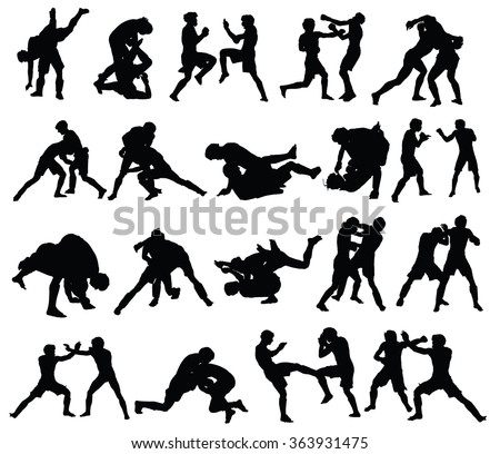 Group of mma fighters vector silhouette isolated on white background.