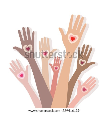 Group of multiracial people hands giving their hearts. Concept of love, support, friendship. Vector background.  - stock vector