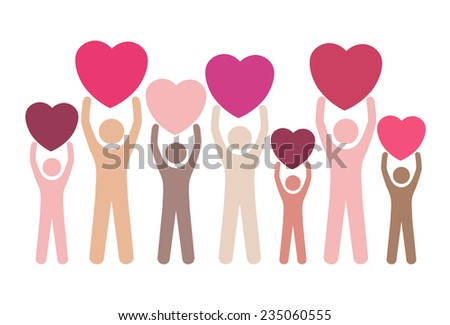 Group of multiracial people in different age and gender holding big hearts. Concept of blood donation, giving love, help, support. Vector illustration. - stock vector