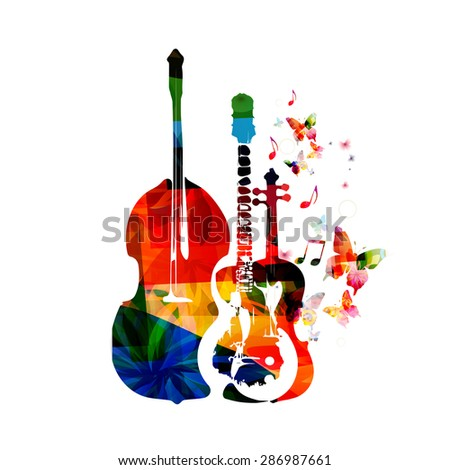 Group of music instruments with butterflies - stock vector