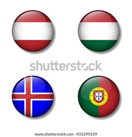 Group of Nation flag on button icon, Austria, Hungary,Iceland, Portugal, Group F - stock vector