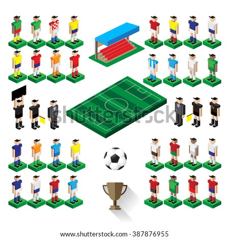 group of national team football player  - stock vector