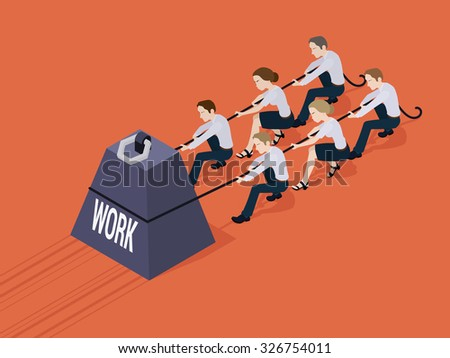 Group of office workers pushing the giant weight with the Work inscription. Conceptual illustration suitable for advertising and promotion - stock vector
