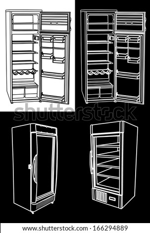 Group of open and close vector refrigerator. Set of drink fridge illustration over several backgrounds.  - stock vector