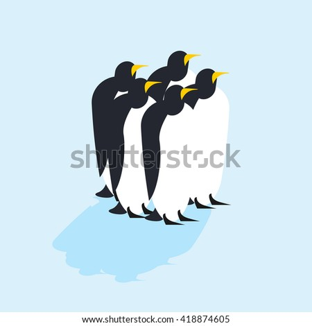 Group of penguins. Arctic animals on ice. Antarctic Birds. flock of animals at North Pole  - stock vector