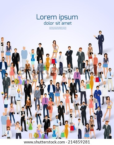 Group of people adult professionals poster vector illustration. - stock vector
