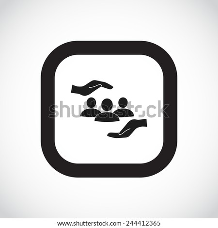 group of people and hand web icon. vector design - stock vector