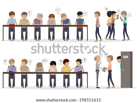 Group Of People At Reading Room - Vector Illustration, Graphic Design Editable For Your Design - stock vector