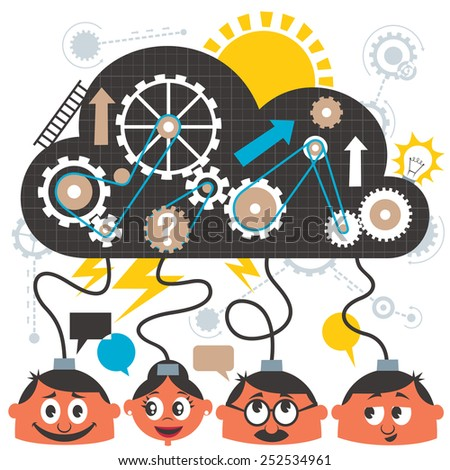 Group of people brainstorming. No transparency and gradients used. - stock vector