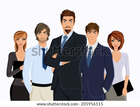 Group of people businesman with business team isolated on white vector illustration - stock vector