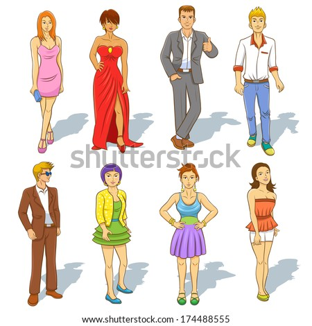 Group of  people cartoon. EPS10  File simple technique - stock vector