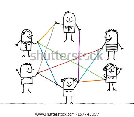 group of people connected by color lines - stock vector