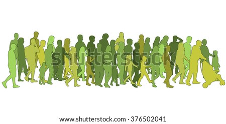 Group of people. Crowd of people silhouettes. - stock vector
