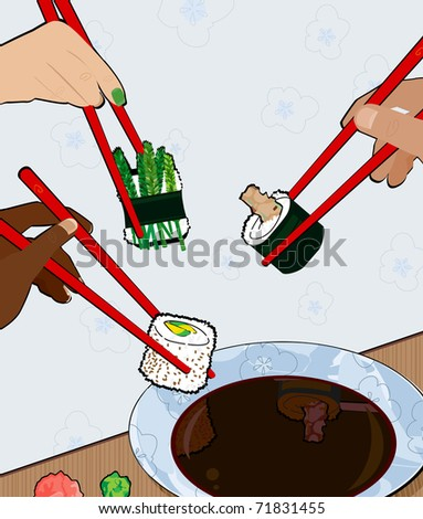 Group of people eating sushi - stock vector