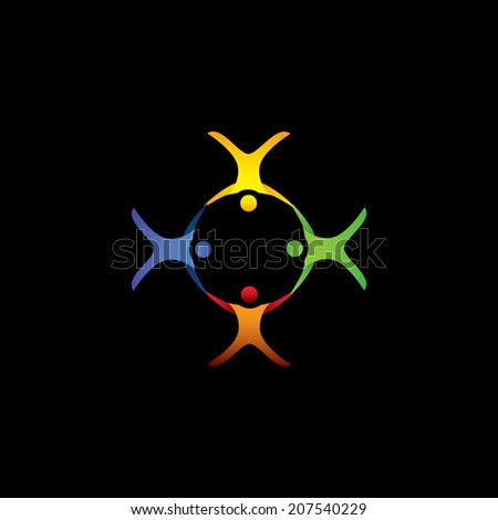 group of people floating, gliding in air - vector graphic. This illustration also represents students community, team & teamwork, kids playing, happy people, friendship, meetings, unity, togetherness - stock vector