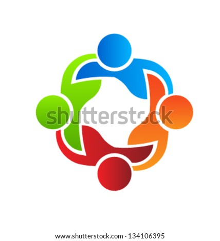 Group of people  holding each other. Teaming 4 - stock vector