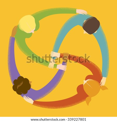 Group of  people in circle holding their hands and showing collaboration and friendship. Textured cartoon illustration about  unity, friendship, team work & team spirit. - stock vector